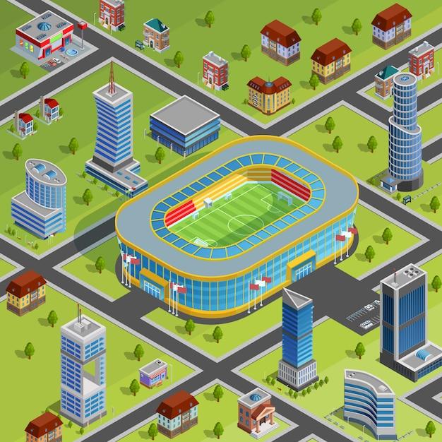 Deporte estadio ciudad cartel isometrico vector gratuito