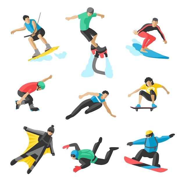 Deporte extremo vector personas. parasailing, wakeboard, snowboard, rocker, snowboards, flyboard. Vector Premium