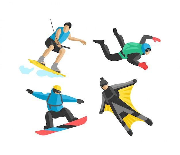 Deporte extremo vector personas silueta Vector Premium