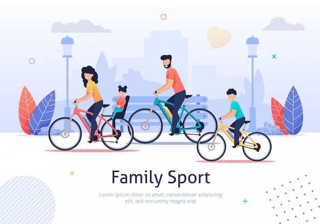 Deporte familiar, padres e hijos, andar en bicicleta. Vector Premium