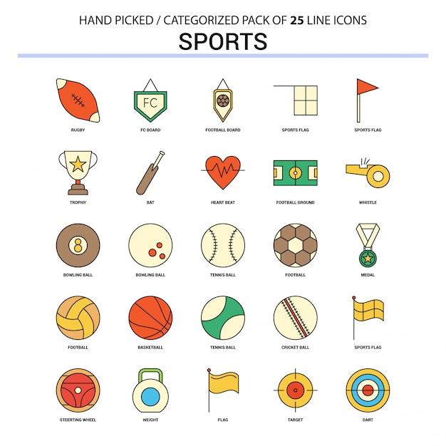 Deportes flat line icon set concepto de negocio iconos diseño vector gratuito