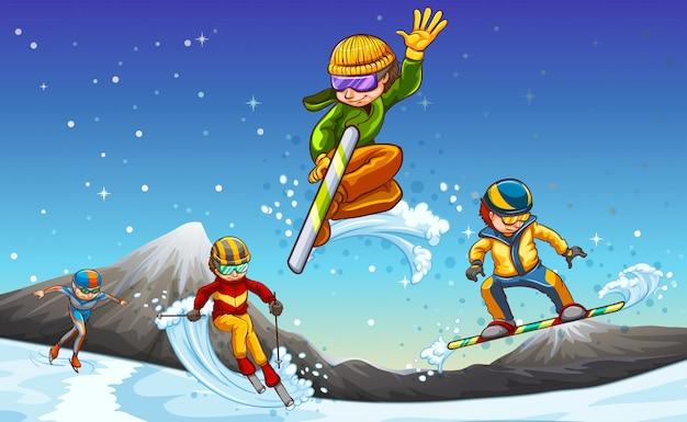Deportes de invierno vector gratuito