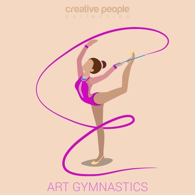 Deportes mujeres arte gimnasia entrenamiento ejercicio rendimiento plano 3d web isométrico infografía vector gratuito
