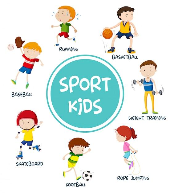 Deportes niños establecen concepto vector gratuito