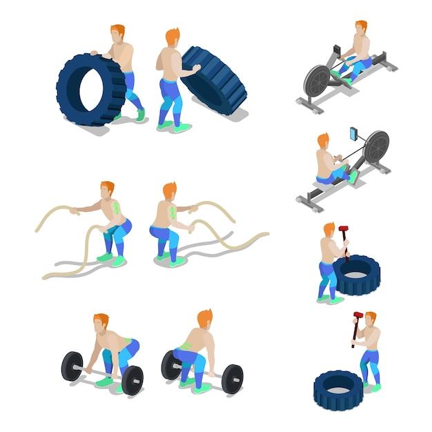 Deportistas isométricos en ejercicios y entrenamiento de gimnasio crossfit. vector ilustración plana 3d Vector Premium