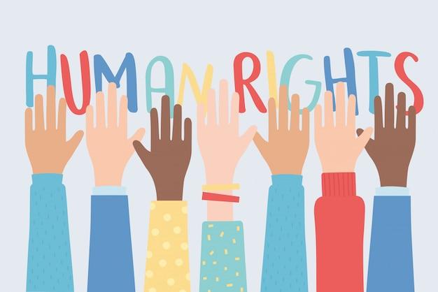 Derechos humanos, levantó las manos juntas ilustración vectorial de la comunidad Vector Premium