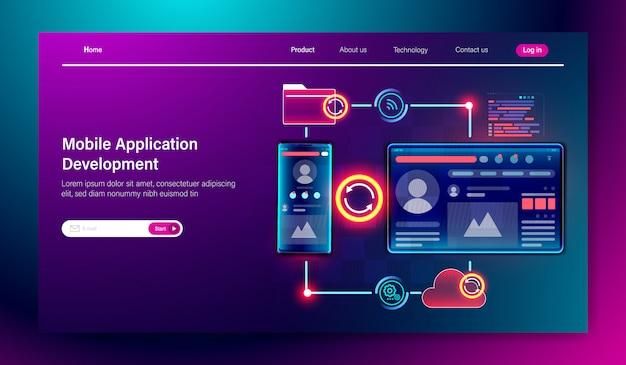 Desarrollo de aplicaciones móviles y desarrollo web. Vector Premium