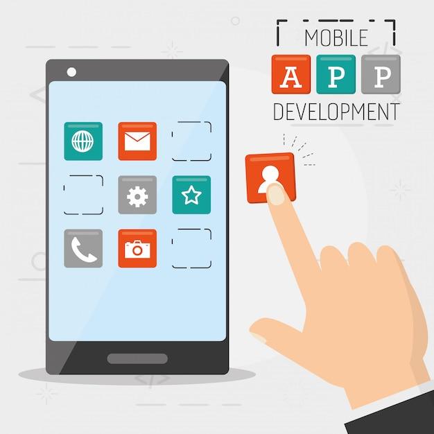 Desarrollo de aplicaciones móviles vector gratuito