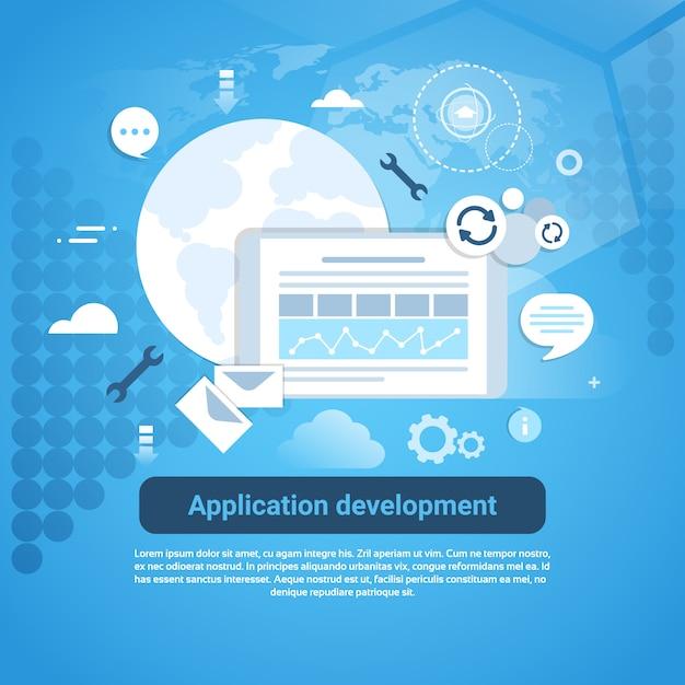 Desarrollo de aplicaciones web codificación banner con espacio de copia Vector Premium