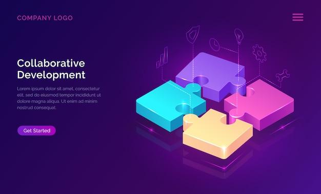 Desarrollo colaborativo, concepto isométrico. vector gratuito