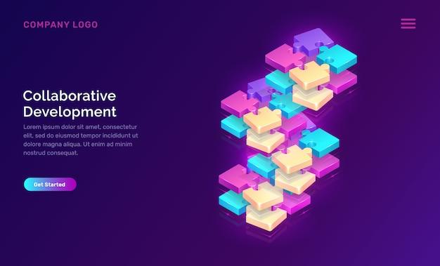 Desarrollo colaborativo, plantilla web vector gratuito
