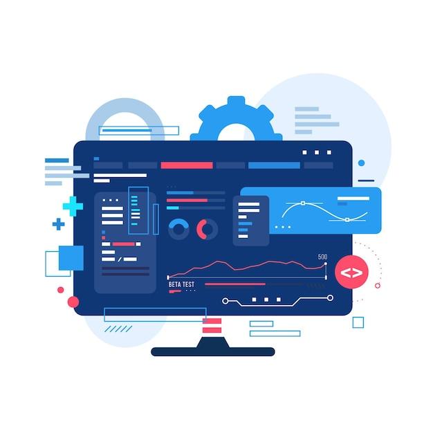 Desarrollo de nuevas aplicaciones en el escritorio vector gratuito