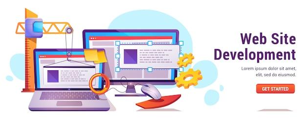 Desarrollo del sitio web, programación o codificación. vector gratuito