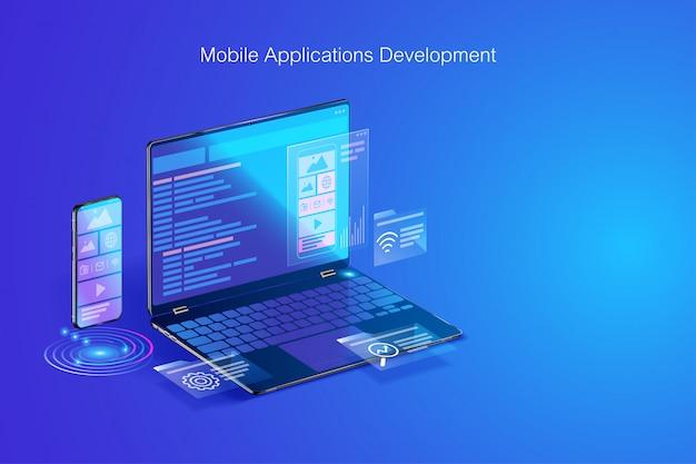 Desarrollo web, diseño de aplicaciones, codificación y programación en concepto de computadora portátil y teléfono inteligente con lenguaje de programación y código de programa y diseño en vector de pantalla Vector Premium
