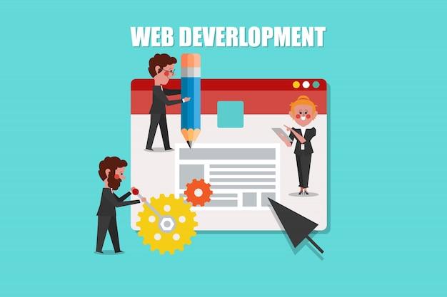Desarrollo web, diseño de concepto de seo estilo de personaje de dibujos animados vector gratuito