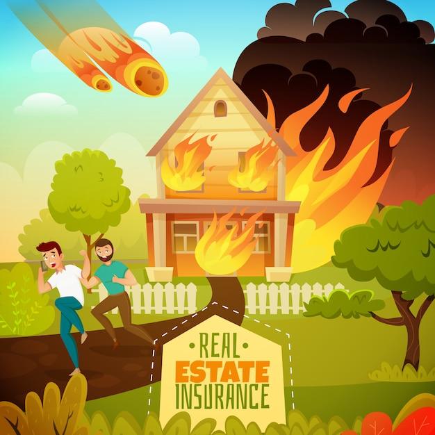 Desastre natural en una casa vector gratuito