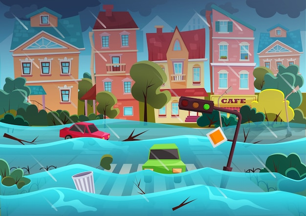 Desastre natural de inundaciones en la ciudad de dibujos animados Vector Premium
