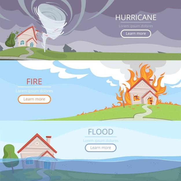 Desastres meteorológicos banners. volcán tsunami viento tormenta lluvia casa daños por aligerar imágenes vectoriales con lugar para texto Vector Premium