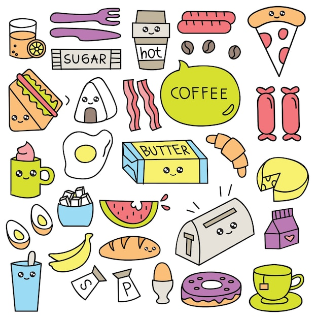 Desayuno comida doodle conjunto ilustración vectorial Vector Premium