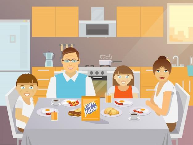 Desayuno familiar plano vector gratuito