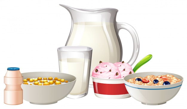 Desayuno en fondo blanco Vector Premium