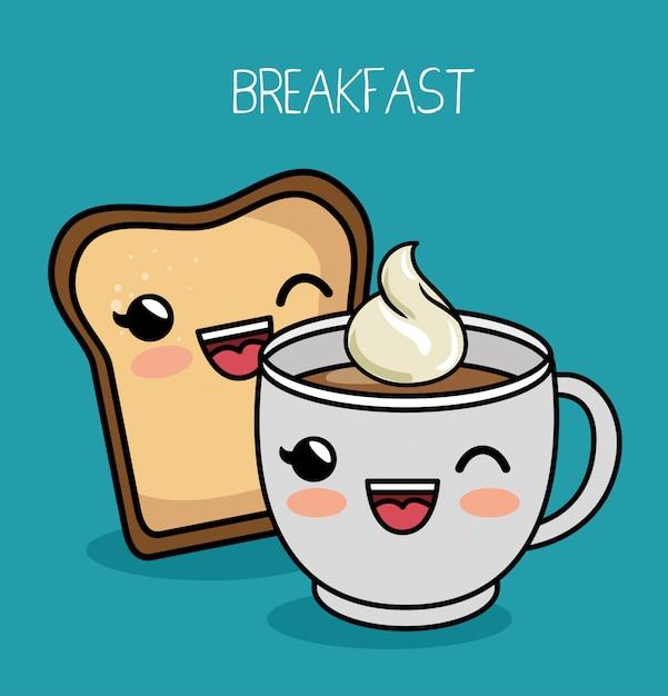 Desayuno kawaii linda taza café pan vector gratuito