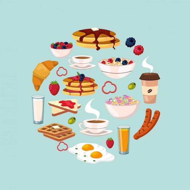 Desayuno saludable con nutrición de proteínas y alimentos. Vector Premium