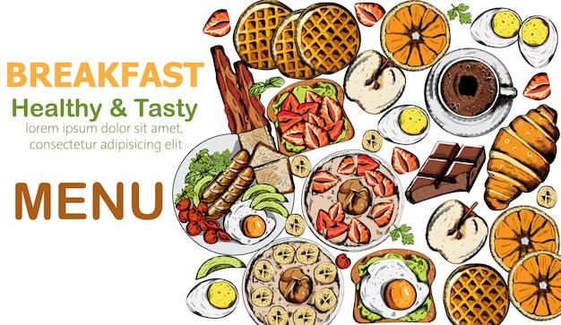 Desayuno saludable y sabroso con múltiples comidas y bebidas. vector gratuito