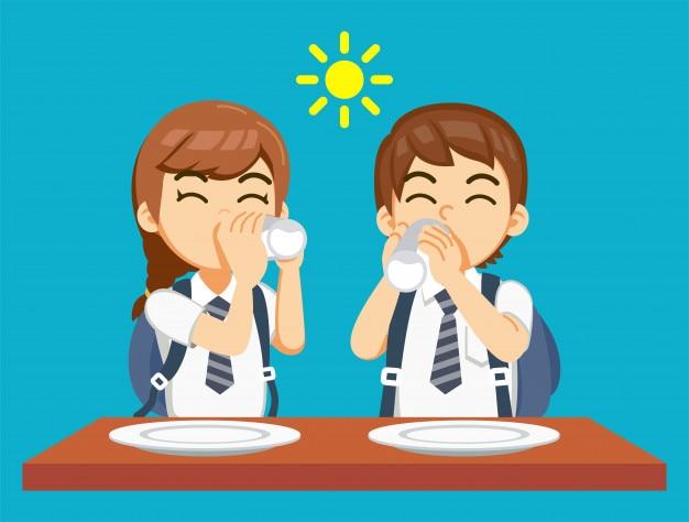 Desayuno Y Tomar Leche Antes De Ir A La Escuela