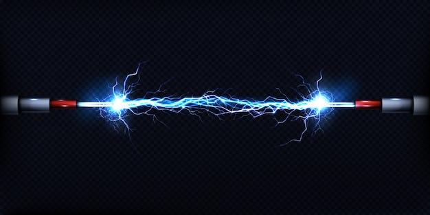 Descarga eléctrica que pasa por el aire entre dos piezas de cables desnudos. vector gratuito