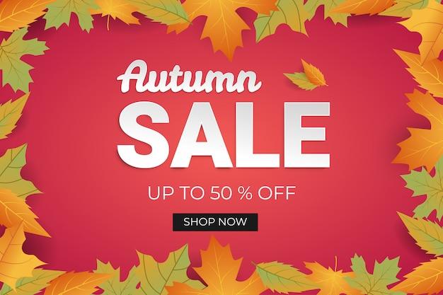 Descuento de banner de venta de otoño Vector Premium