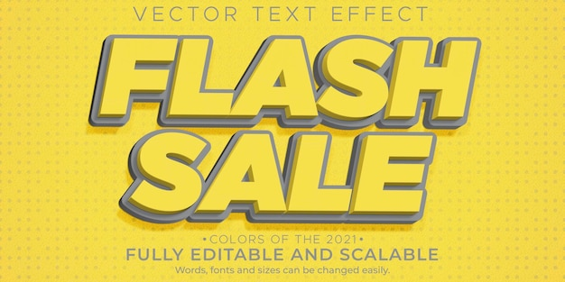 Descuento editable de efecto de texto de venta flash y estilo de texto de oferta Vector Premium