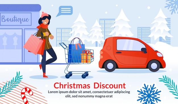 Descuento de navidad para publicidad de mujer Vector Premium