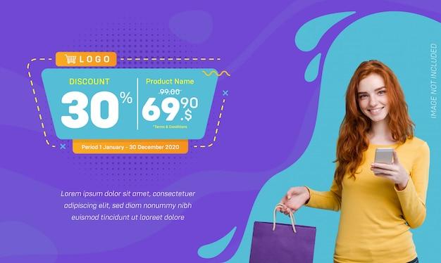 Descuento social media banner venta fondo líquido Vector Premium