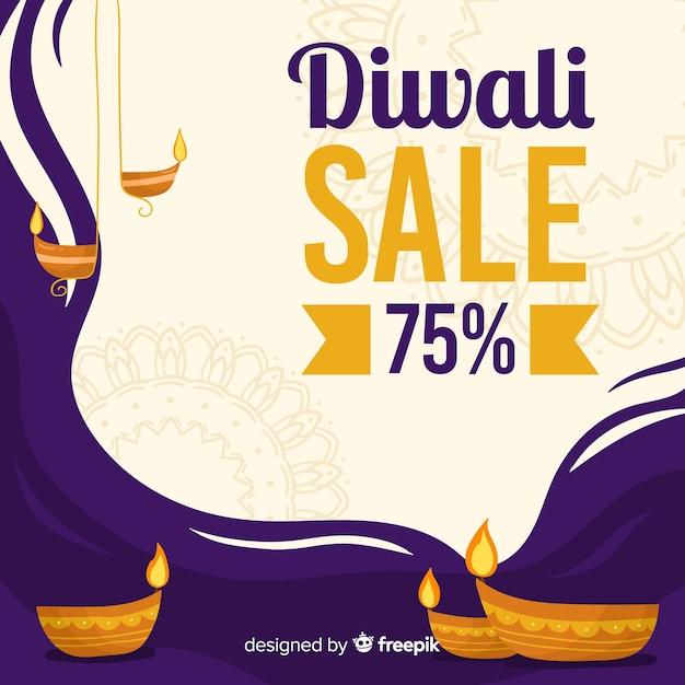 Descuento de venta de diwali dibujado a mano vector gratuito