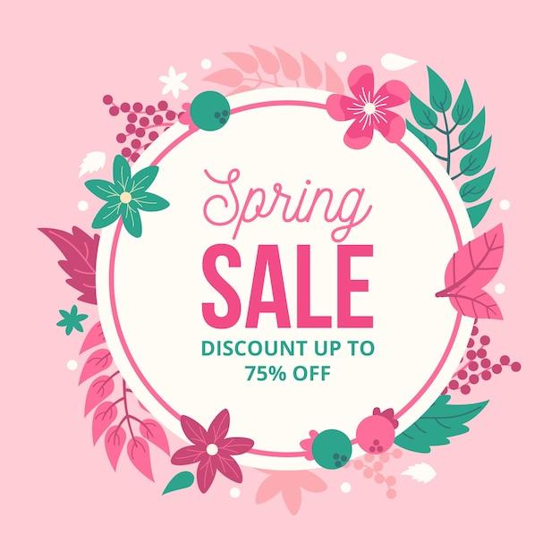 Descuento de venta de primavera de diseño plano con flores y hojas vector gratuito