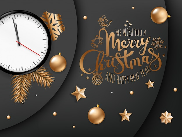 Le deseamos un concepto de feliz navidad y feliz año nuevo. Vector Premium