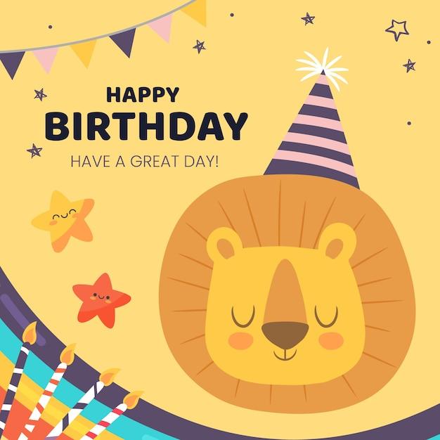Deseo de cumpleaños publicación de instagram con león vector gratuito