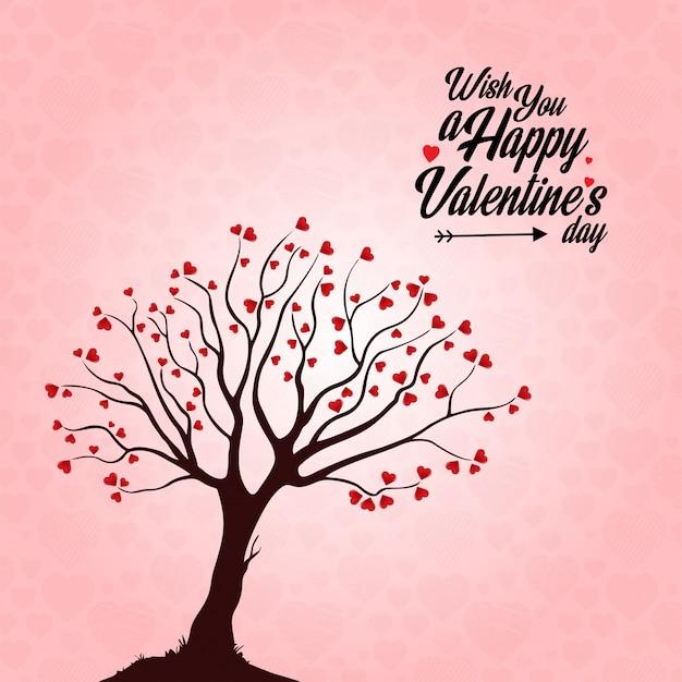 Les deseo un feliz día de san valentín árbol de fondo del corazón vector gratuito