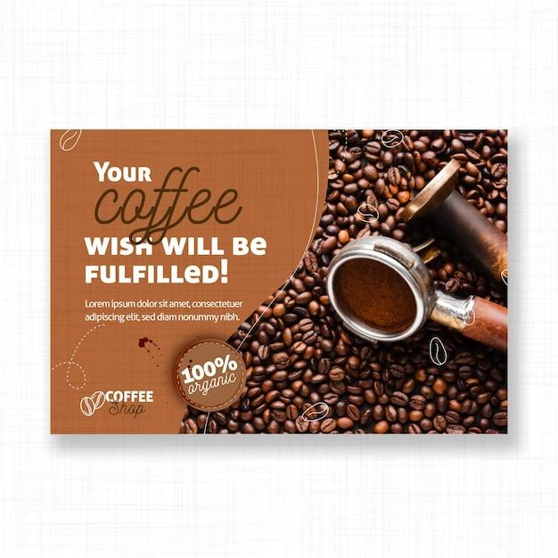 Deseo de una plantilla de banner de café vector gratuito