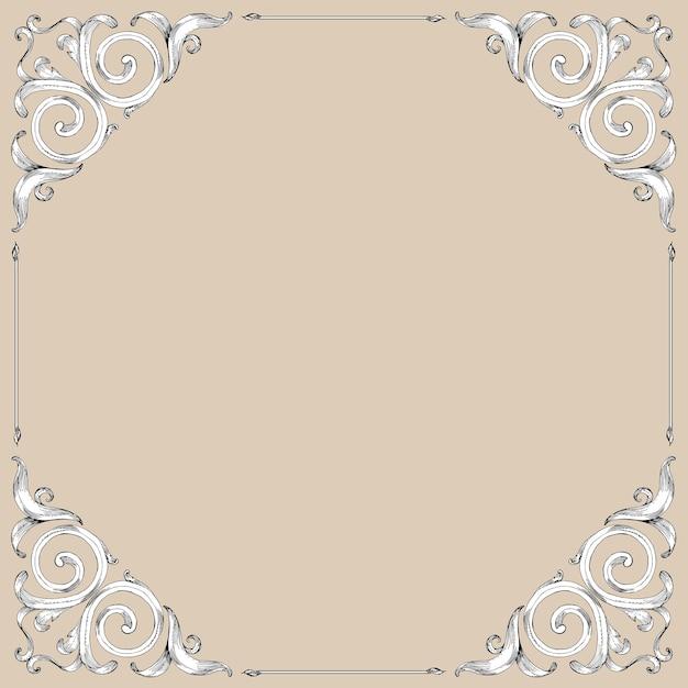 Desfile de marco de dibujo a mano de estilo barroco Vector Premium