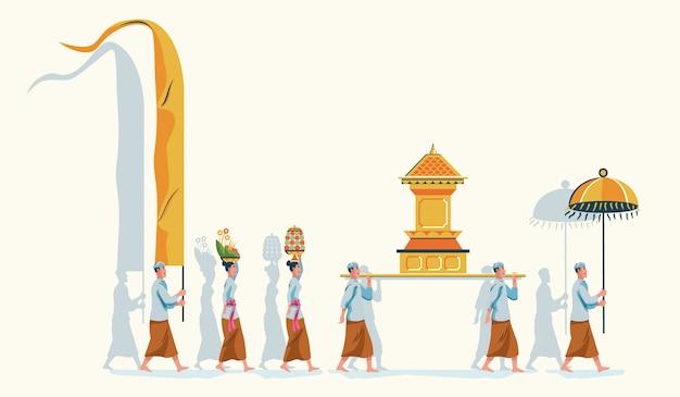 Desfile de purificación de bali hindú Vector Premium