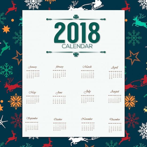 Desgin del calendario 2018 con el patrón de navidad vector gratuito