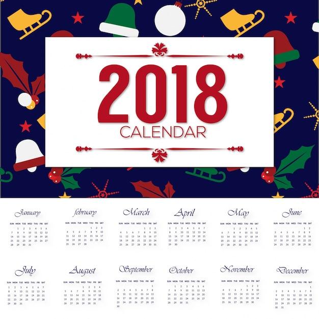 navidad 2018 calendario Desgin del calendario 2018 con el patrón de navidad | Descargar  navidad 2018 calendario