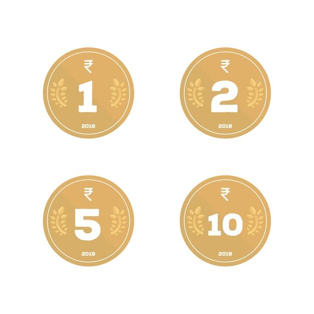 Designación de paquete de icono de moneda de rupia india Vector Premium