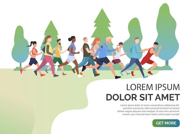 Deslice la página con gente corriendo juntos en el parque vector gratuito