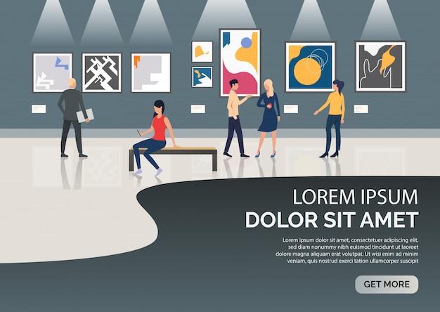 Deslice la página con personas que visitan la ilustración del museo. vector gratuito