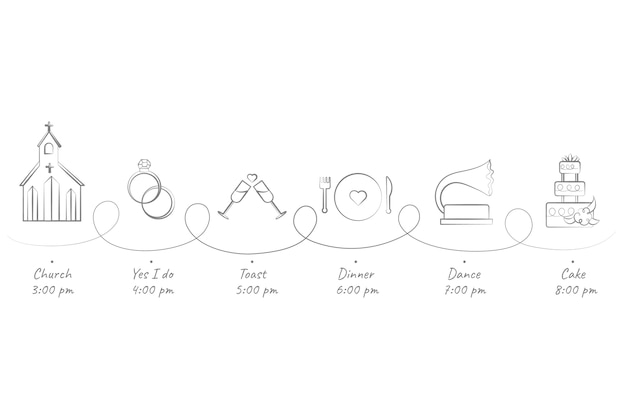 Deslumbrante línea de tiempo de boda dibujada a mano vector gratuito