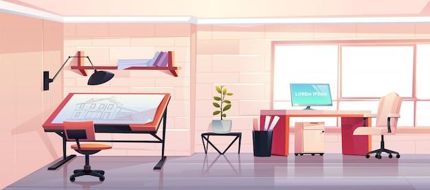 Despacho de arquitectos con anteproyecto en estudio de diseño vector gratuito