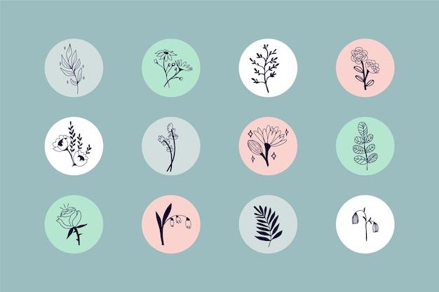 Destacados de historias florales dibujadas a mano en instagram vector gratuito
